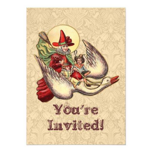 Vintage Mother Goose Antique Illustration Personalized Invitation
