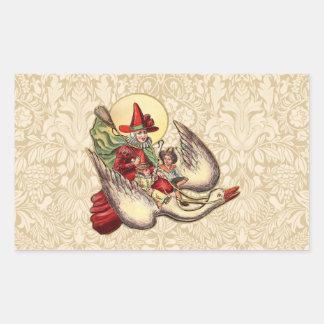 Vintage Mother Goose Antique Illustration Rectangle Stickers