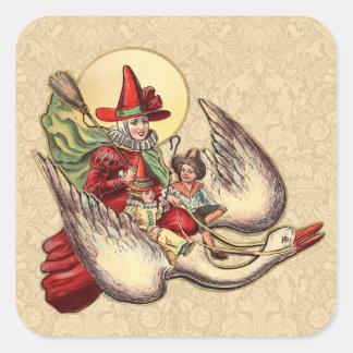 Vintage Mother Goose Antique Illustration Square Stickers