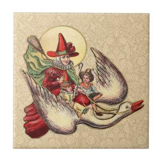 Vintage Mother Goose Antique Illustration Tile