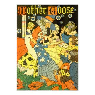 Vintage Mother Goose Books and Children Invitation
