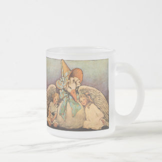 Vintage Mother Goose Children Jessie Willcox Smith Frosted Glass Coffee Mug