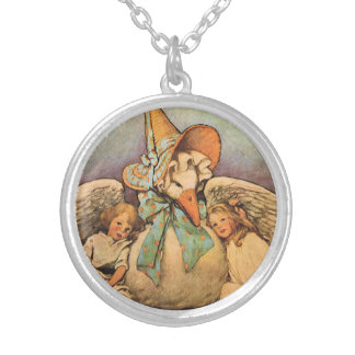 Vintage Mother Goose Children Jessie Willcox Smith Silver Plated Necklace