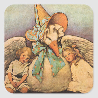 Vintage Mother Goose Children Jessie Willcox Smith Square Sticker