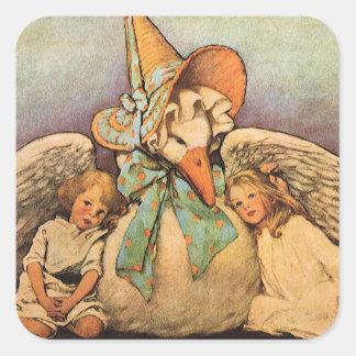 Vintage Mother Goose Children Jessie Willcox Smith Square Sticker