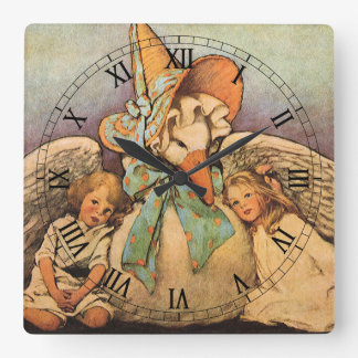 Vintage Mother Goose Children Jessie Willcox Smith Square Wall Clock