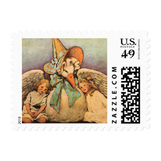 Vintage Mother Goose Children Jessie Willcox Smith Stamp