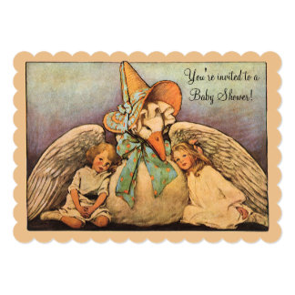 Vintage Mother Goose Children Twins Baby Shower Card
