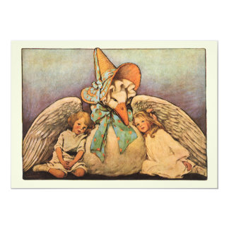 Vintage Mother Goose Children Twins Birthday Party Card