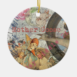 Vintage Mother Goose Fairy tale Collage Ceramic Ornament