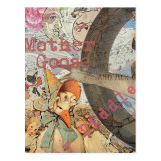 Vintage Mother Goose Fairy tale Collage Postcard