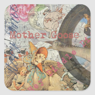 Vintage Mother Goose Fairy tale Collage Square Sticker