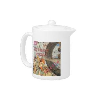 Vintage Mother Goose Fairy tale Collage Teapot