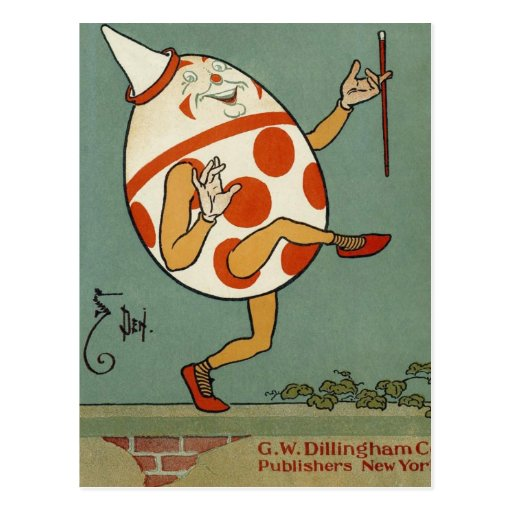 Vintage Mother Goose Nursery Rhyme, Humpty Dumpty Postcard