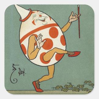Vintage Mother Goose Nursery Rhyme, Humpty Dumpty Square Sticker