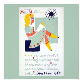Vintage Mother Goose Nursery Rhyme Miss Muffet WPA Card