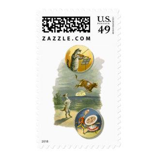 Vintage Mother Goose Nursery Rhyme Poem Postage Stamps