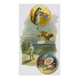 Vintage Mother Goose Nursery Rhyme Poem Poster