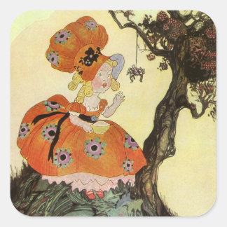 Vintage Mother Goose Nursery Rhyme Poem Square Sticker