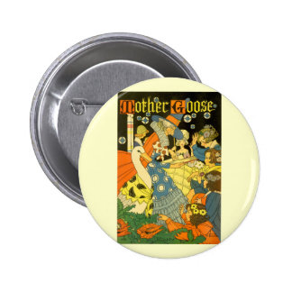 Vintage Mother Goose Reading Books to Children Button