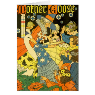 Vintage Mother Goose Reading Books to Children Card