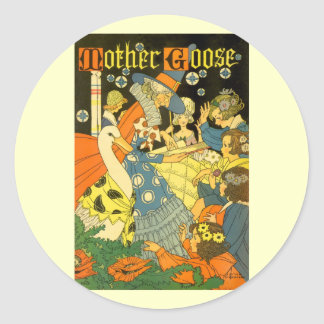 Vintage Mother Goose Reading Books to Children Classic Round Sticker