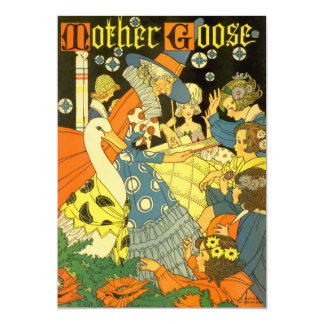 """Vintage Mother Goose Reading Books to Children 5"""" X 7"""" Invitation Card"""