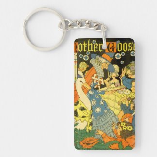 Vintage Mother Goose Reading Books to Children Keychain