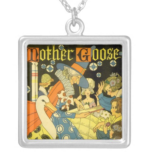 Vintage Mother Goose Reading Books to Children Necklace