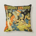 Vintage Mother Goose Reading Books to Children Throw Pillows