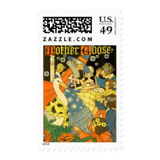 Vintage Mother Goose Reading Books to Children Stamp