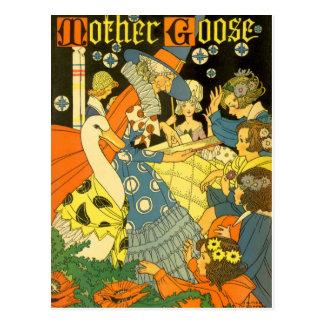 Vintage Mother Goose Reading Books to Children Postcard