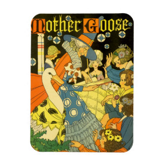 Vintage Mother Goose Reading Books to Children Rectangle Magnets