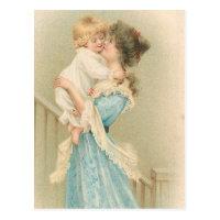 Vintage Mother Holding Child Postcard