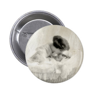 Vintage Mother Kissing Baby in Bassinet Button