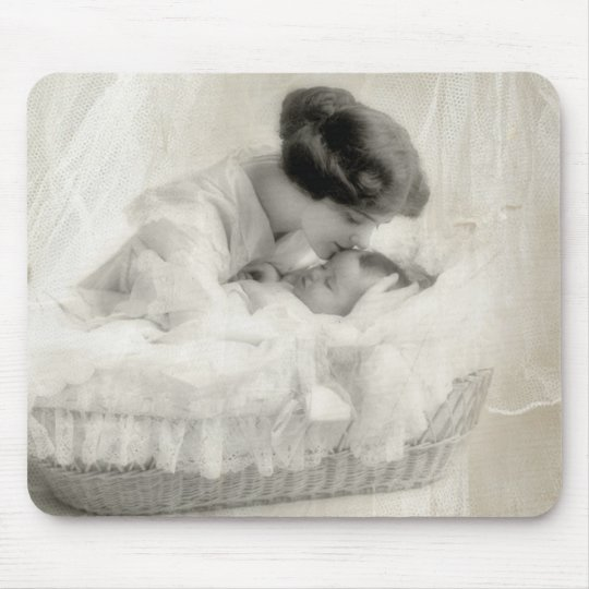 Vintage Mother Kissing Baby in Bassinet Mouse Pad