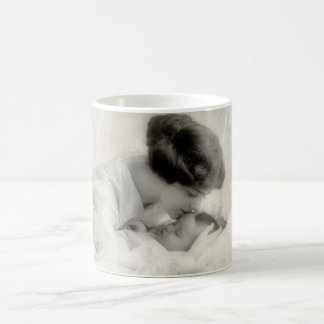 Vintage Mother Kissing Baby in Bassinet Coffee Mug