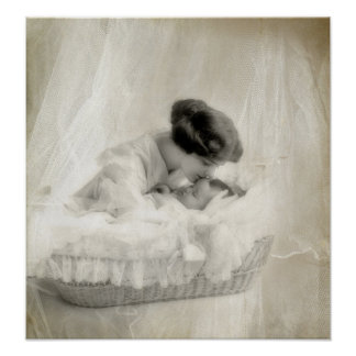Vintage Mother Kissing Baby in Bassinet Print
