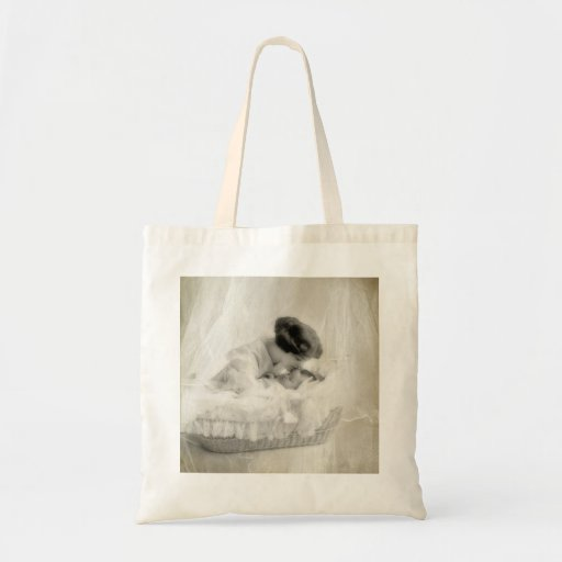 Vintage Mother Kissing Baby in Bassinet Tote Bag