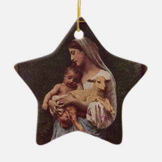 Vintage Mother Mary and Baby Jesus Double-Sided Star Ceramic Christmas Ornament