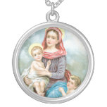 vintage mother mary and baby jesus. round pendant necklace