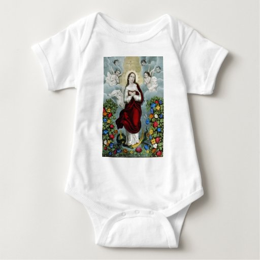 Vintage Mother Mary Lithograph Baby Bodysuit