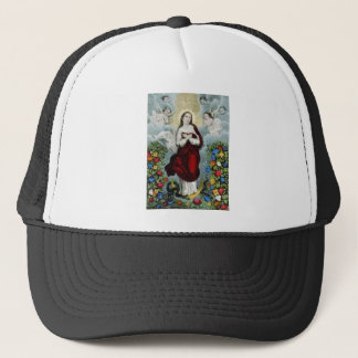 Vintage Mother Mary Lithograph Trucker Hat