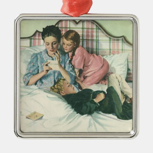 Vintage Mother Reading Cards in Bed with the Kids Ornaments