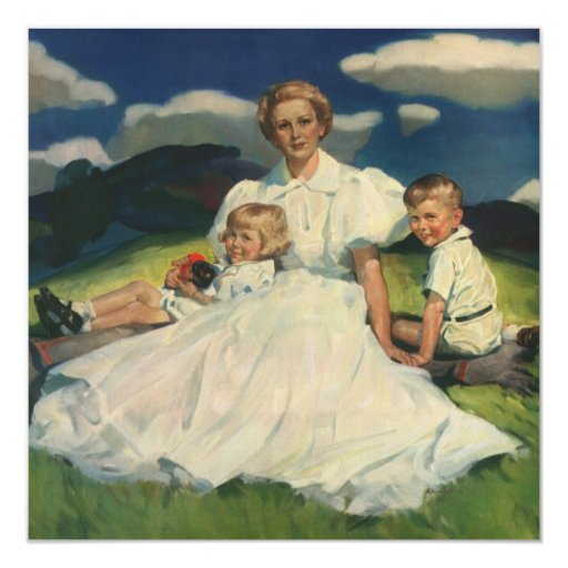 Vintage Mother with Children Family Portrait 5.25x5.25 Square Paper Invitation Card