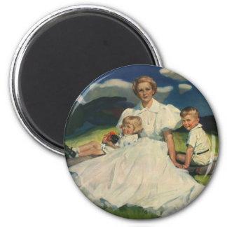 Vintage Mother with Children Family Portrait Magnet