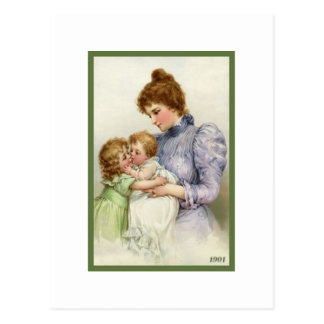 Vintage Mother With Children Postcard