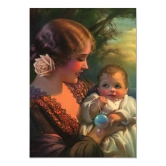 Vintage Mother with Cute Child, Baby Shower Card