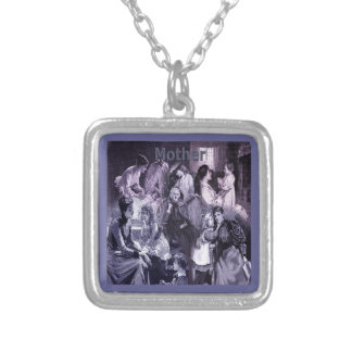 Vintage Mothers and Children Collage Silver Plated Necklace