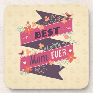 Vintage Mother's Daay Ribbon Greeting Drink Coaster